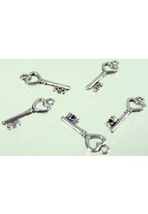 www.snowfall-beads.com - Metal pendant key with heart ± 20x7mm  (± 30 pcs.)