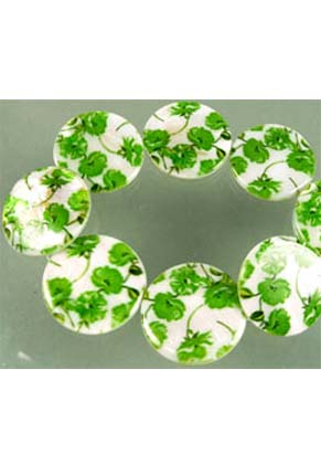 www.snowfall-beads.com - Mother of pearl beads flat round decorated with flowers ± 29mm (± 12 pcs.)
