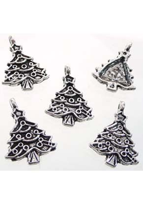www.snowfall-beads.com - Metal pendants/charms Christmas tree ± 24x17mm (± 40 pcs.)