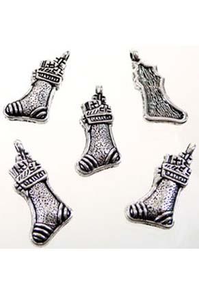 www.snowfall-beads.com - Metal pendants/charms Christmas stocking ± 23x11mm (± 50 pcs.)