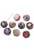 www.snowfall-beads.be - Mix kunststof kralen rond versierd met stof ± 14mm