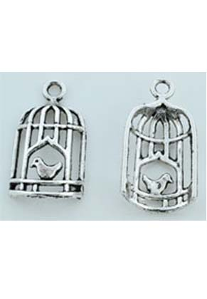 www.snowfall-beads.com - Metal pendants/charms birdcage with bird ± 27x14mm