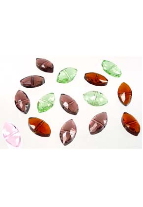 www.snowfall-beads.com - Mix glass beads crystal faceted flat oval ± 16x9x7mm