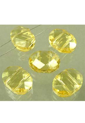 www.snowfall-beads.com - Glass beads crystal faceted flat oval with 2 holes ± 15x11x5mm