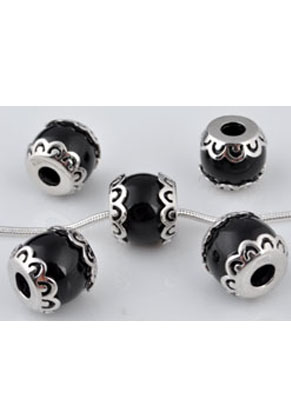 www.snowfall-beads.com - Large-hole-style roundel 925 silver with synthetic bead ± 13x10mm (hole ± 4mm)