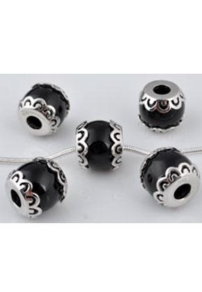 www.snowfall-beads.de - Großloch-Stil Rondelle 925 Silber mit Kunststoff Perle ± 13x10mm (Loch ± 4mm)
