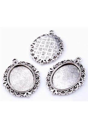 www.snowfall-beads.fr - Pendentifs/breloques de métal, ovale, décoré avec cadre pour ± 25x18mm brique de collage/photo ± 40x29mm
