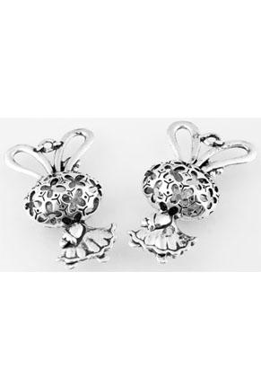 www.snowfall-beads.fr - Pendentifs/breloques de métal, lapin avec jupe décoré ± 44x26x13mm