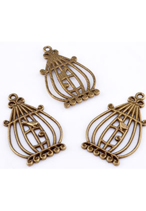 www.snowfall-beads.com - Metal pendants/charms birdcage with bird ± 34x21mm