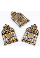 www.snowfall-beads.com - Metal pendants/charms birdcage with heart ± 34x20mm - D10051
