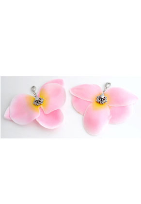 www.snowfall-beads.com - Textile orchid with clip and clasp± 84x74mm (clasp ± 12x7mm)