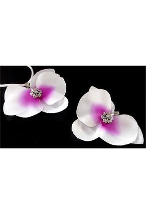 www.snowfall-beads.nl - Stoffen orchidee met klemmetje ± 84x60mm