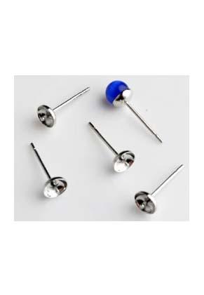 www.snowfall-beads.de - Ohrstecker mit Pin (0,7mm Umfang) für klebstein/perle mit halb-gebohrtem Loch 5mm (± 100 Paar)