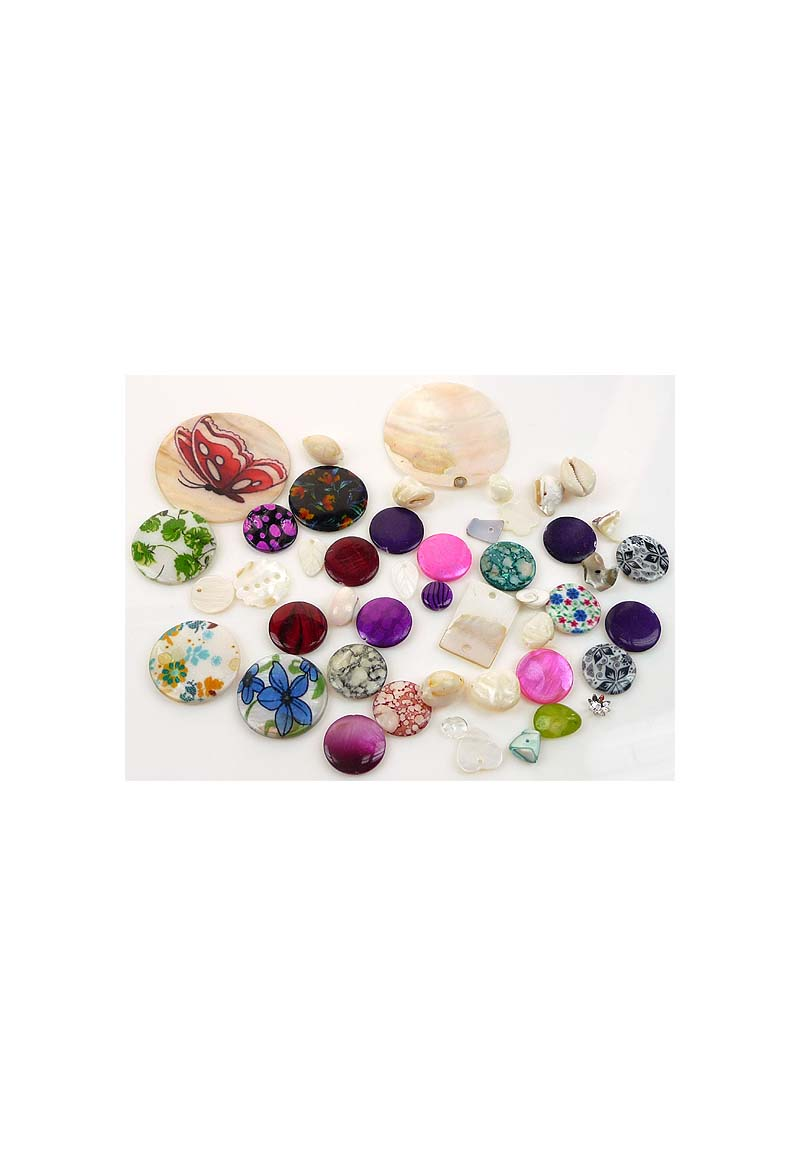 Mix van diverse materialen voornamelijk parelmoer 5 50mm maat van zakje is 12x8cm - Kleur en materialen ...