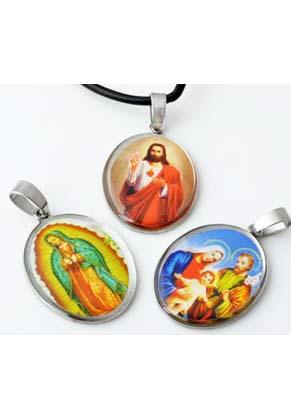 www.snowfall-beads.be - Mix metalen hangers/bedels met religieuze afbeelding ± 42x24mm (roestvrij staal)