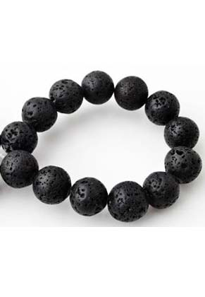 www.snowfall-beads.com - Natural stone perfume beads lava rock round ± 12mm (hole ± 1,5mm) (± 60 pcs.)
