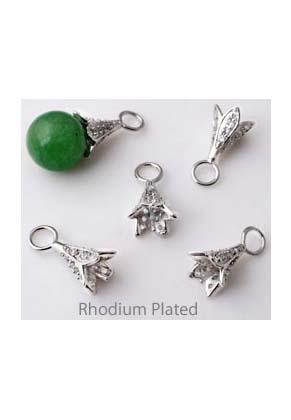 www.snowfall-beads.de - Silber Anhänger mit pin (± 0,9mm Umfang) für Klebstein/Perle mit halb-gebohrtem Loch und mit Zirkonia, 925 silber (Rhodium plated) ± 18x9mm (Äugchen ± 4mm)