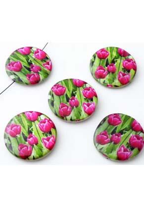 www.snowfall-perles.be - Perles de nacre, circulaires, plates et décorées avec tulipes ± 25mm (trou ± 1mm)
