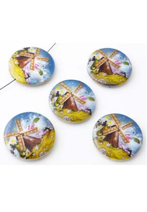 www.snowfall-beads.com - Mother of pearl beads flat round decorated with mill ± 25mm (hole ± 1mm)