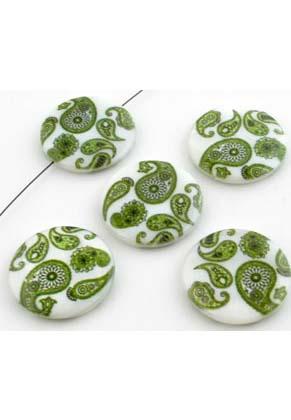 www.snowfall-beads.nl - Parelmoer kralen plat rond versierd met Paisley motief ± 25mm, ± 4mm dik (gat ± 0,8mm)