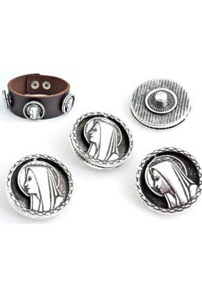 www.snowfall-beads.nl - Metalen drukknopen EasyButton rond bewerkt met Maria ± 20mm (geschikt voor EasyButton accessoires)