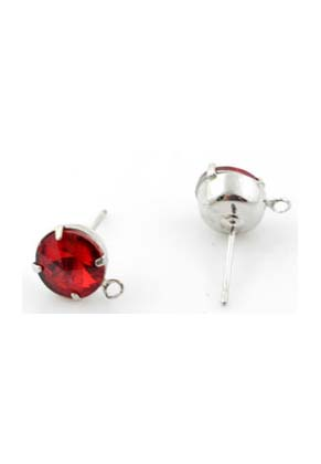 www.snowfall-beads.nl - Metalen oorstekers ± 18x11mm met glas kristal similisteen ± 8mm en met oogje ± 1,5mm