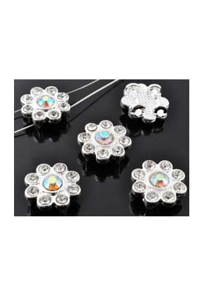www.snowfall-beads.com - Metal dividers flower with strass crystal ± 15x6mm with 4 holes (± 1,5mm)