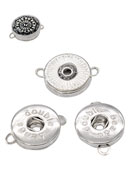 www.snowfall-beads.com - DoubleBeads EasyButton metal pendants/connectors decorated ± 25x19mm (eyes ± 2,5mm) (suitable for DoubleBeads EasyButton press studs) - D13204