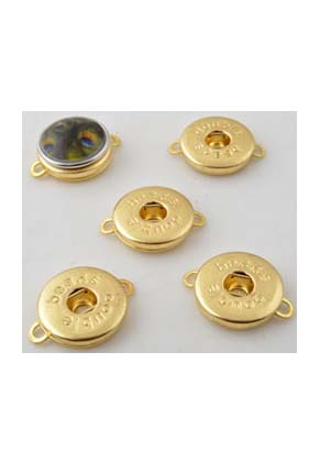 www.snowfall-beads.com - DoubleBeads EasyButton metal pendants/connectors decorated ± 25x19mm (eyes ± 2,5mm) (suitable for DoubleBeads EasyButton press studs)