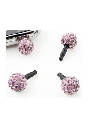 www.snowfall-beads.nl - Kunststof anti-dust plug voor mobiele telefoon met fimoklei bol versierd met strass ± 25x12mm