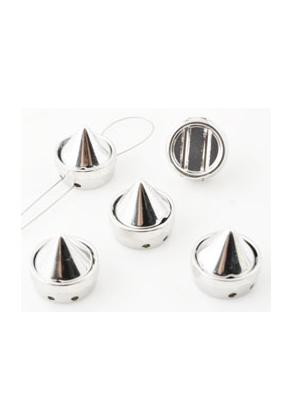 www.snowfall-beads.fr - Séparateurs de métal avec 'studs' de matière synthétique de metal look ± 11,5x12mm, avec 2 trous (trou ± 1mm)