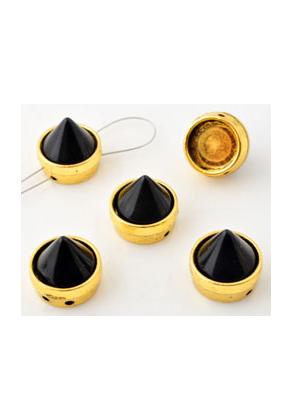 www.snowfall-beads.fr - Séparateurs de métal avec 'studs' de matière synthétique ± 11,5x12mm, avec 2 trous (trou ± 1mm)