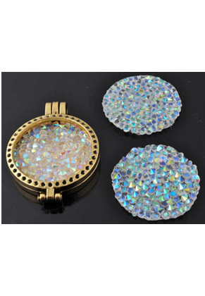 www.snowfall-beads.com - Application crystal rock style decorated with glass crystal pointed backs, round (for ironing) ± 30x3mm