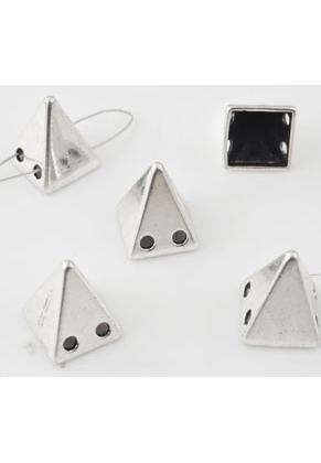 www.snowfall-beads.nl - Metalen verdelers 'studs' piramide ± 15,5x12,5mm met 2 gaatjes (gat ± 2mm)