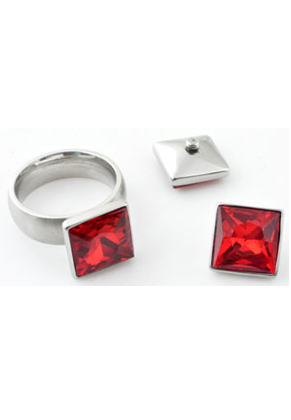 www.snowfall-beads.co.uk - Metal (stainless steel) setting with screw and strass crystal faceted, excluding ring! ± 13,5x7,5mm (suitable for J01707-J01714)