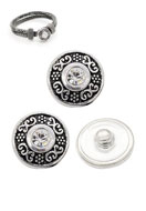 www.snowfall-beads.com - Metal press studs DoubleBeads EasyButton round decorated with strass ± 18mm (suitable for DoubleBeads EasyButton accessories) - D13936