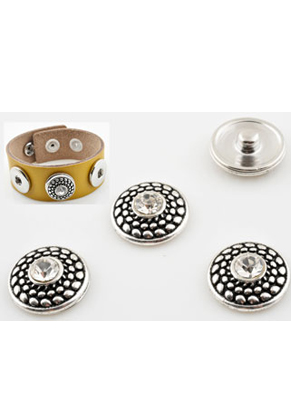 www.snowfall-beads.com - Metal press studs DoubleBeads EasyButton round decorated with strass ± 18mm (suitable for DoubleBeads EasyButton accessories)