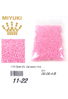 www.snowfall-beads.com - Miyuki glass seed beads 11/0- Silverlined Dyed Carnation Pink 22 (± 5500 pcs.)
