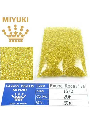 www.snowfall-beads.com - Miyuki glass seed beads 15/0- Silverlined Yellow 6 (± 12500 pcs.)
