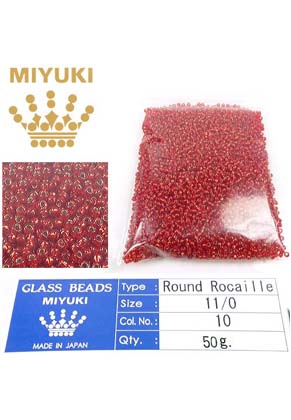 www.snowfall-beads.com - Miyuki glass seed beads 11/0- Silverlined Flame Red 10 (± 5500 pcs.)