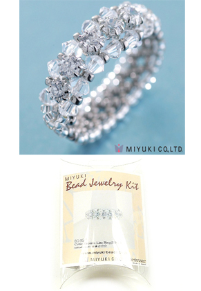 www.snowfall-beads.com - Miyuki jewelry kit finger ring 'Cubic Zirconia Line Ring (Silver)' no.B0-95/1 (including instructions)