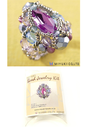 www.snowfall-beads.com - Miyuki jewelry kit finger ring 'Courtly Ring (Amethyst)' no.B0-89/1 (including instructions)