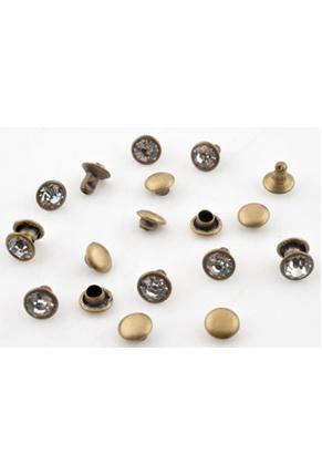 www.snowfall-beads.fr - Studs de métal, circulaires avec strass ± 6,5x6mm