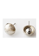www.snowfall-beads.com - Metal ear studs with synthetic metal look cap/studs round ± 16x9,5mm - D14826