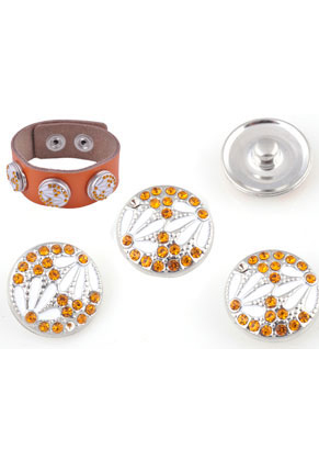 www.snowfall-beads.com - Metal press studs DoubleBeads EasyButton with epoxy and strass ± 18mm (suitable for DoubleBeads EasyButton accessories)