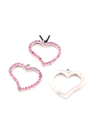 www.snowfall-beads.com - Metal pendants/charms heart with strass ± 22x24mm (eye ± 1,5mm) - D16846