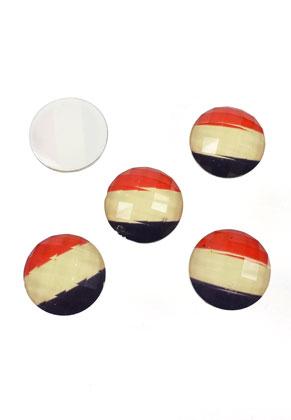 www.snowfall-perles.be - Perles a coller/cabochons en matière synthétique, circulaires aux facettes, drapeau hollandais/ français ± 18x6mm