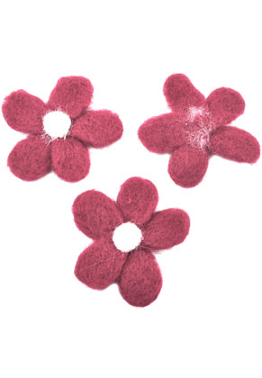 www.snowfall-beads.nl - Wolvilt applicatie bloem ± 77mm x ± 10mm