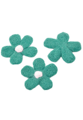 www.snowfall-beads.be - Wolvilt applicatie bloem ± 77mm x ± 10mm