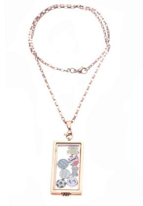 www.snowfall-beads.be - Metalen (roestvrij staal) hanger/bedel medaillon 'Floating Charm Locket' met glazen kastje (± 35x16x2mm), magnetische sluiting ± 62x22x5mm (oogje ± 6x3,5mm) (niet voor mensen met een pacemaker)